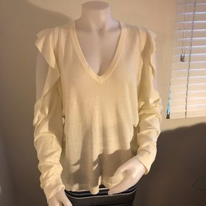 BCBG Maxazria Emile cold-shoulder sweater top